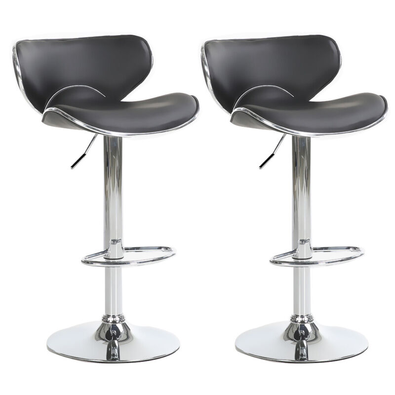 Set of 2 Adjustable Height Bar Stools Pub Dining Swivel Chair Leather 4 Colors