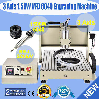 3 Axis Cnc Router 6040 Engraver Machine Mill Metal Woodworking 3d Carving 1500w