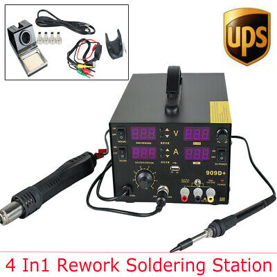 4 In1 Hot Air Gun Unit Soldering Rework Station Welding Solder Desoldering Good