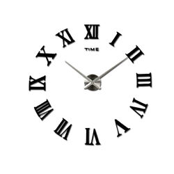 4 Pack Modern Luxury DIY Wall Clock Large 3D Roman Numerals Stickers Home Clock