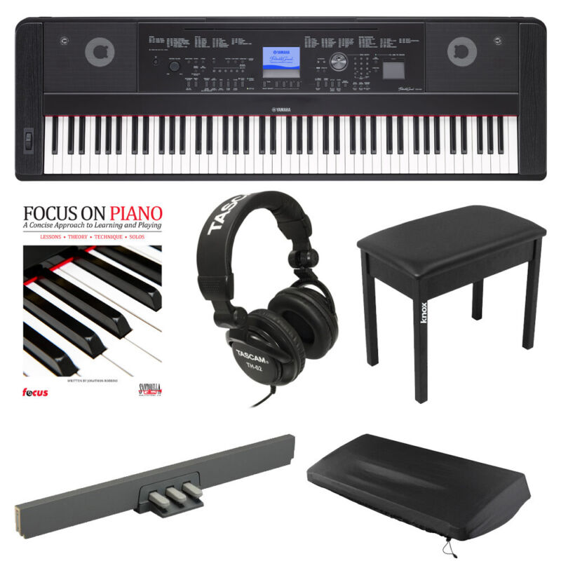 Yamaha DGX-660 88-Key Digital Grand Piano w/ LP7A Pedal & Knox Bench Bundle