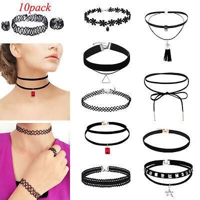 10PcsSet Womens Gothic Punk Velvet Tattoo Lace Choker Collar Pendant Necklace
