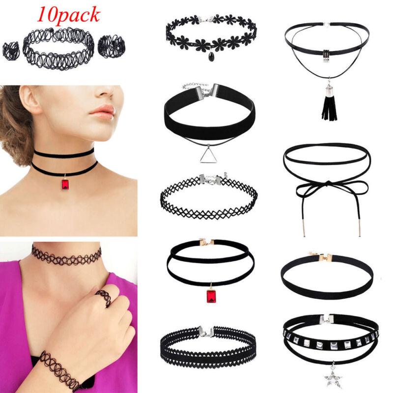 $6.64 - 10Pcs/Set Women's Gothic Punk Velvet Tattoo Lace Choker Collar Pendant Necklace