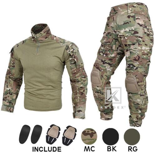KRYDEX G3 Combat Uniform Tactical BDU Shirt & Pants with Elbow Pads & Knee Pads
