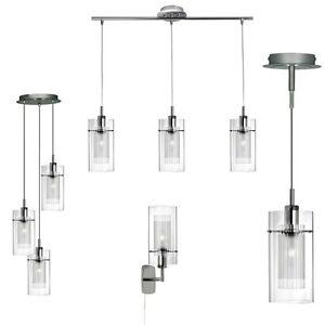 design luminaire suspendu applique murale chrome verre recoupable lampe neuf ebay. Black Bedroom Furniture Sets. Home Design Ideas
