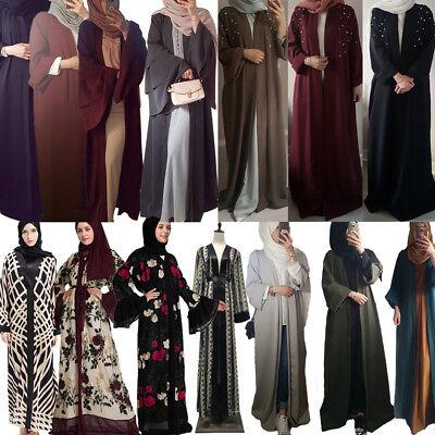 Lady Muslim Long Maxi Dress Robe Abaya Open Cardigan Kimono Islamic Kaftan Party