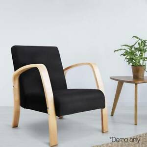 Artiss Wooden Armchair with Cushion - Black - FREE DELIVERY