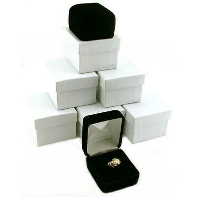 6 Black Velvet Ring Boxes Jewelry Counter Gift Display