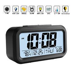 Digital LED Sensor Automatic Soft Light Snooze Desk Alarm Clock Date Temperature