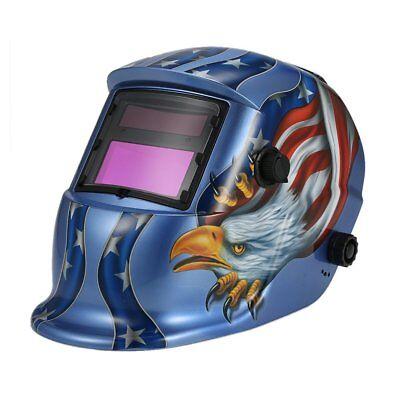 Auto Darkening Welding Helmet Welder Solar Powered Grinding Face Mask Eagle Blue