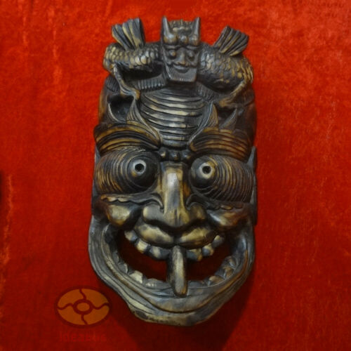 """Chinese Wood Hand Carved Exorcising NUO MASK Walldecor-Tāo Tiè(Glutton) tall 16"""""""