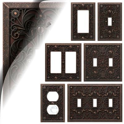 Bronze Toggle Switchplate - Aged Bronze Filigree Switch Cover Plate Vintage Arabesque Toggle Rocker Duplex
