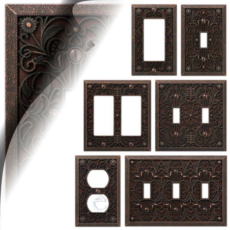 Aged Bronze Filigree Switch Cover Plate Vintage Arabesque Toggle Rocker Duplex