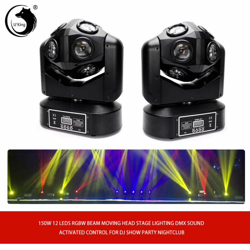 2PCS  RGBW 12LED150W  Beam Stage Light DMX DJ Dance Nightclub Wedding Party Bar