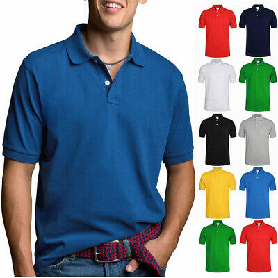 Mens Short Sleeve Polo Shirt - Men's Polo Shirt Dri-Fit Golf Sports Plain Cotton Jersey T Shirt Short Sleeve