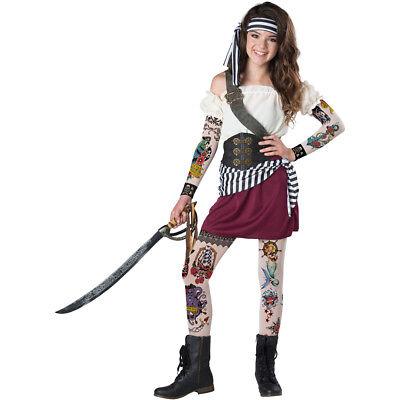 Girls Tween Tattoo Pirate Halloween Costume (Halloween Costumes Tween Girls)