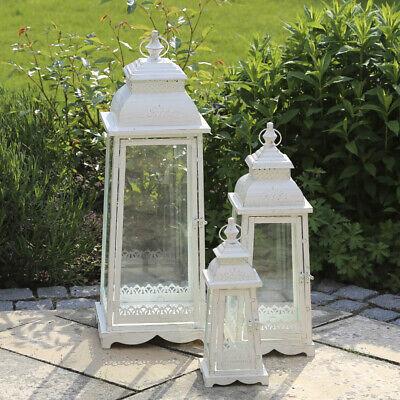 Laterne LUGANO creme weiß H35cm antik aus Metall Ornament verziert Landhaus