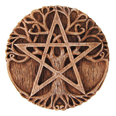 Small Tree Pentacle Plaque - Wood Finish - Dryad Design - Pagan Wiccan Pentagram