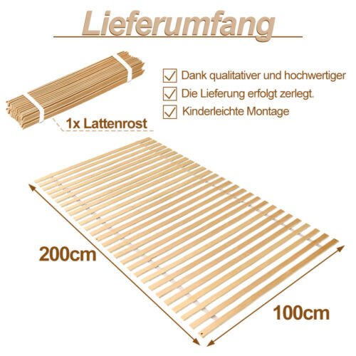 Lattenrost Latten max.150kg Gebogenen Birke Rollrost 28 Leisten 100x200cm