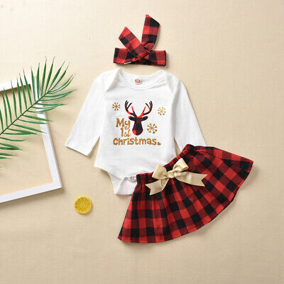 2019 My 1st Christmas Infant Baby Girl Xmas Clothes Romper+Tutu Skirt Outfits -