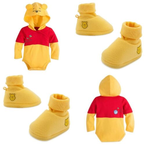 Disney Store Winnie the Pooh Baby Bodysuit Costume Shoes Dress Up Hood Halloween