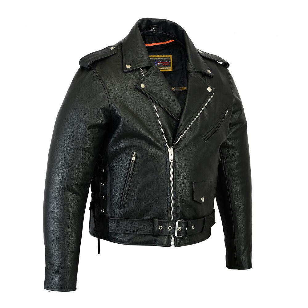 Mens motorcycle beltless biker police style leather