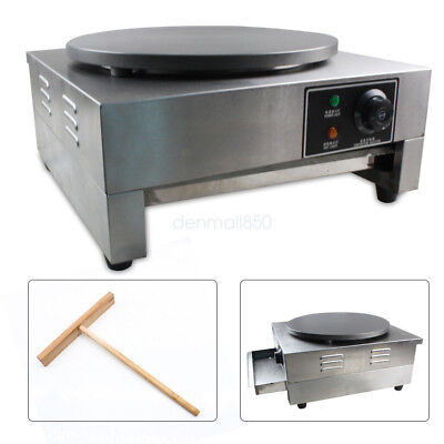 New Commercial Single Electric Crepe Maker Pancake Pan Griddle Machine Non Stick
