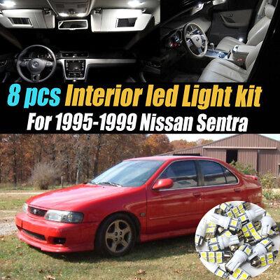 8Pcs Super White Car Interior LED Light Kit Package for 1995-1999 Nissan -