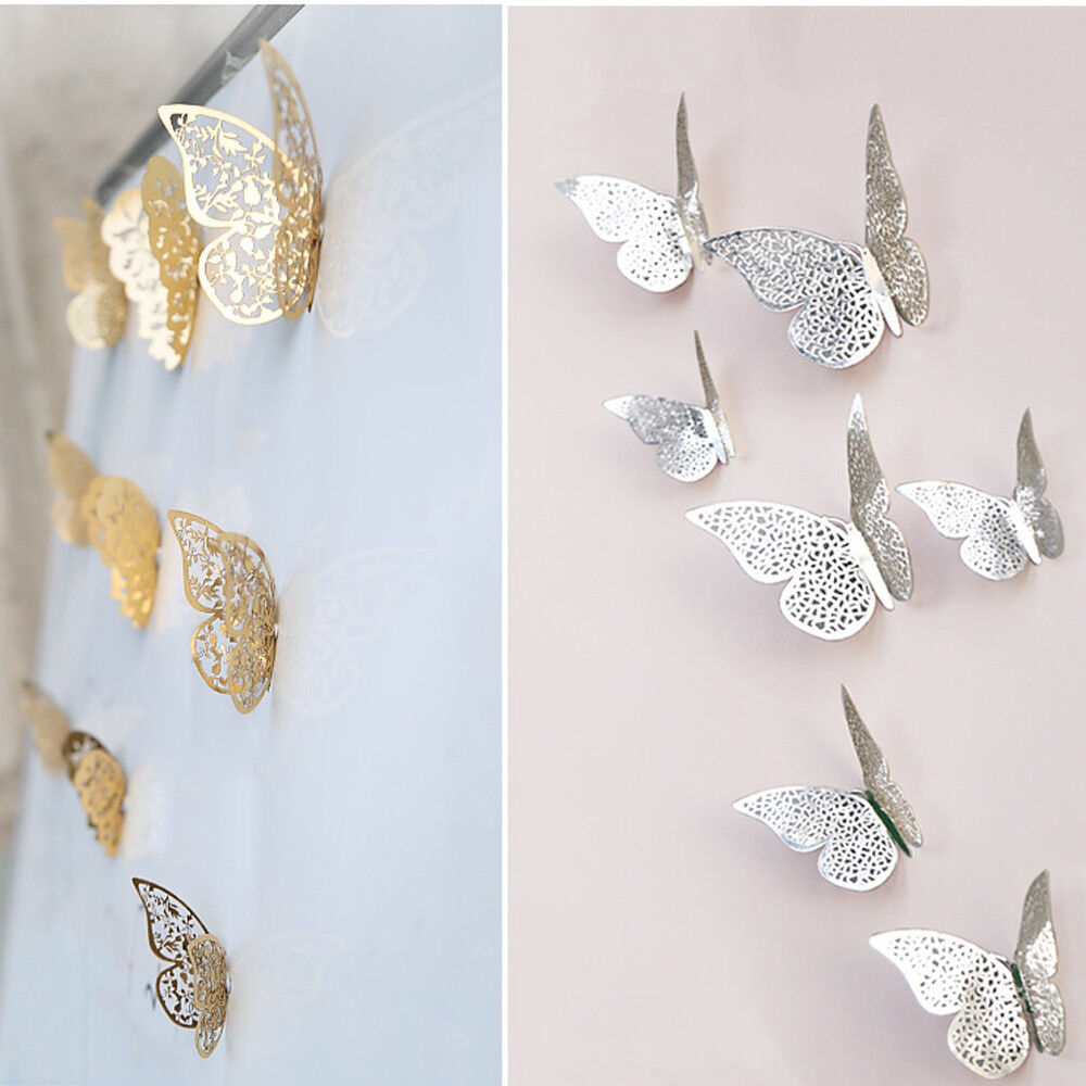 Home Decoration - 12 Pcs 3D Hollow Wall Stickers Butterfly Fridge for Home Decoration New Stickers