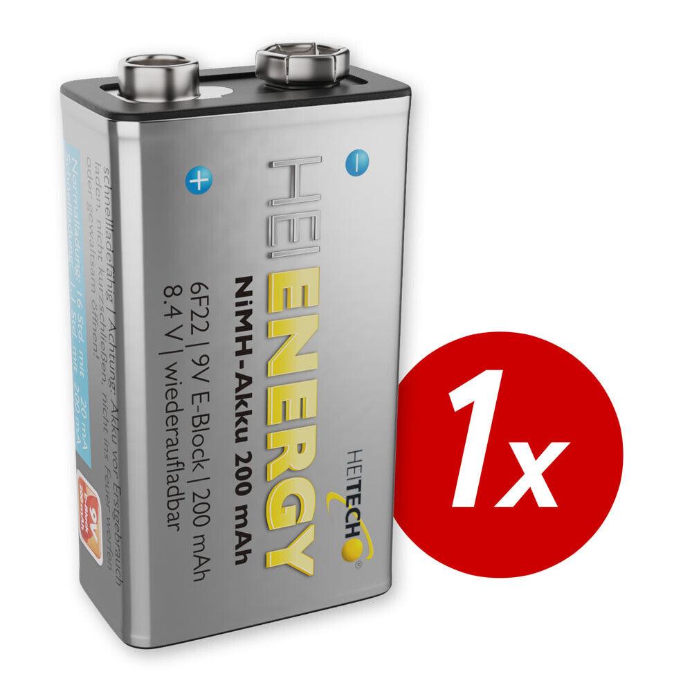 HEITECH 1x 9V Akku 200 mAh NiMH TÜV geprüft Wiederaufladbare Batterie Akkus