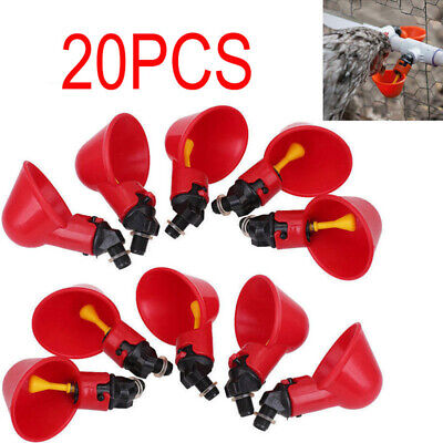 20 Pack Bird Poultry Water Drinking Cups- Chicken Hen Plastic Automatic Drinker