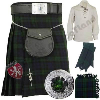 Herren Schottisch Schwarze Uhr Schottenkaro 7,3 M 455ml Kilt Set Outfit 9 Stück/
