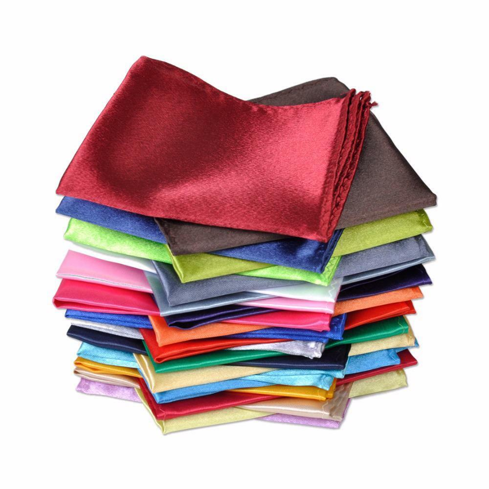 10 PCS Mens Handkerchief Hanky Pocket Square Satin Wedding Solid Assorted Color