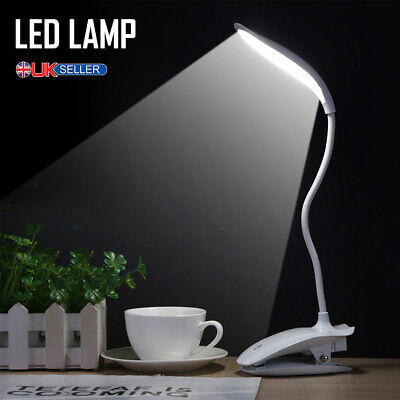 LED USB Clip On Desk Lamp Dimmable Study Reading Table Light Touch Rechargeable