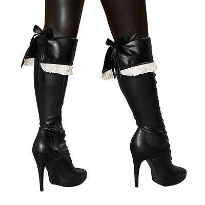 Kostüm-stiefelstulpen (Piratenkostüm Stiefelstulpen schwarz Pirat Stiefel Stulpen zum Binden )