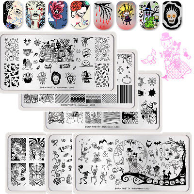 6Pcs BORN PRETTY Nail Art Stamping Plates Halloween Theme  Templates Kit Tools](Halloween 6 Theme)