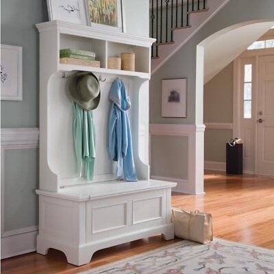 Home Styles Naples Hired hall Tree with Storage Bench, White