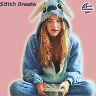 US Stitch Kigurumi Pajamas Anime Cosplay Costume Unisex Adult Outfit Sleepwear - Stitch Adult Costume