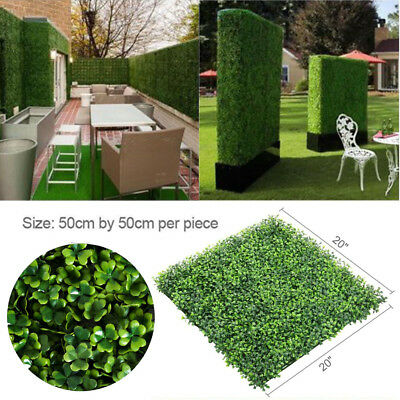 "12PCS 20"" x 20"" Artificial Boxwood Panel Fence Hedge Greenery Garden Decor"