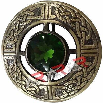 Celtic Kilt Fly Plaid Brooch Green Stone Antique Finish 3
