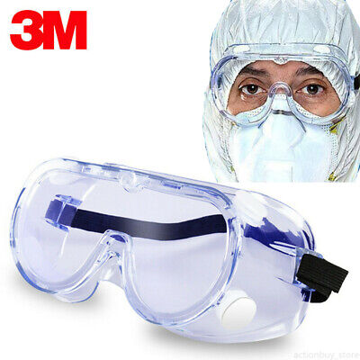 3M Vrown Protective Goggles Safety Work Lab Eye Protection Anti Fog Clear Glass