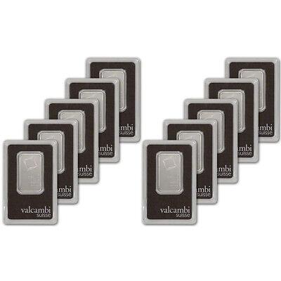 1 oz. Platinum Bar - Valcambi Suisse - 999.5 Fine in Assay - Ten 10 Bars