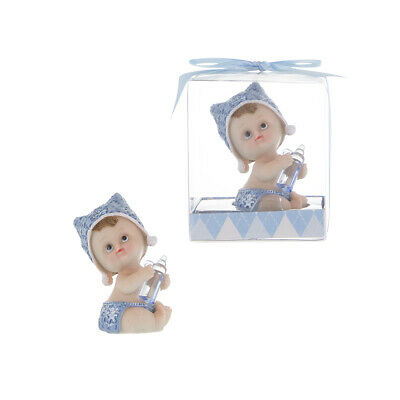 - Mega Favors - Baby Boy Holding Clear Bottle Poly Resin - Blue, 12PCS