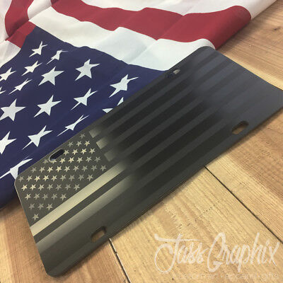 American Flag License Plate (Subdued Tactical American Flag License Plate Matte Black on 1/8