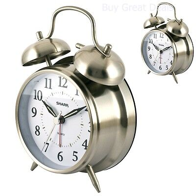 Vintage Analog Alarm Clock Quartz Sharp Twin Bell Loud Ring Luminous Glow Metal