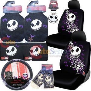 nightmare before christmas bones low back car seat covers accessories 12pc set - Nightmare Before Christmas Steering Wheel Cover