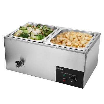 Food Warmer Bain Marie Table Steamer Wet Heat 2-pan Heavy Gauge Pans Restaurant