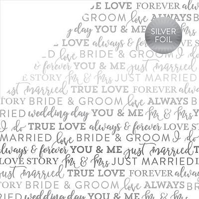 Scrapbooking 12x12 Paper DSCS White Silver Foil Wedding Bride Groom Married You - Wedding Scrapbook Paper