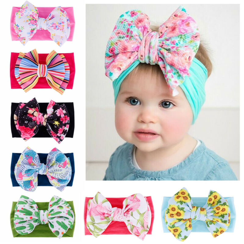 Newborn Knot Headband Cotton Head Wrap Turban Girls Baby Big Bow Tie Wrap N7