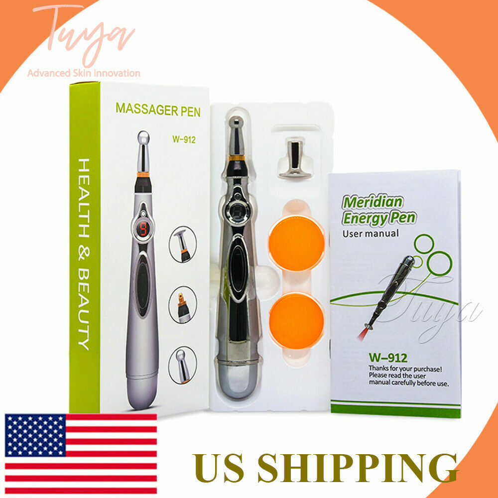 MERIDIAN ACUPUNCTURE PEN WITH 3 MASSAGE HEAD ENERGY PAIN THERAPY RELIEF Acupuncture